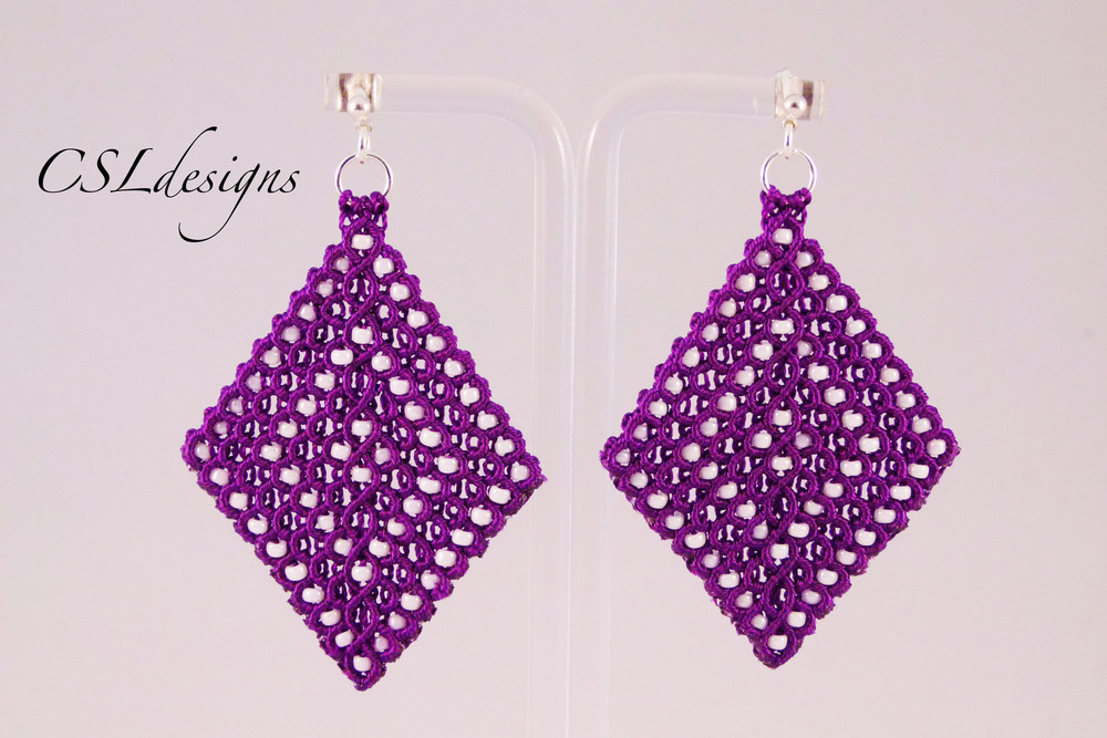 Micro macrame diamond earrings purple.jpg