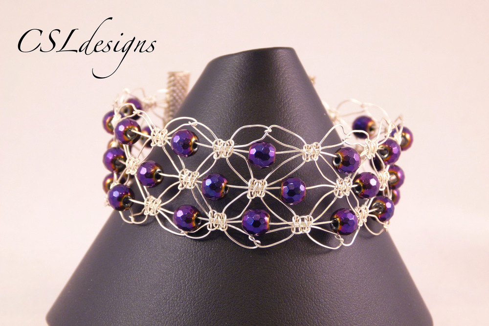 Triple row wire macrame purple bracelet thumbnail.jpg