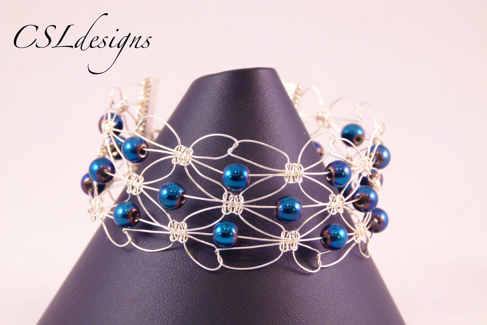 Triple row wire macrame blue bracelet front close.jpg