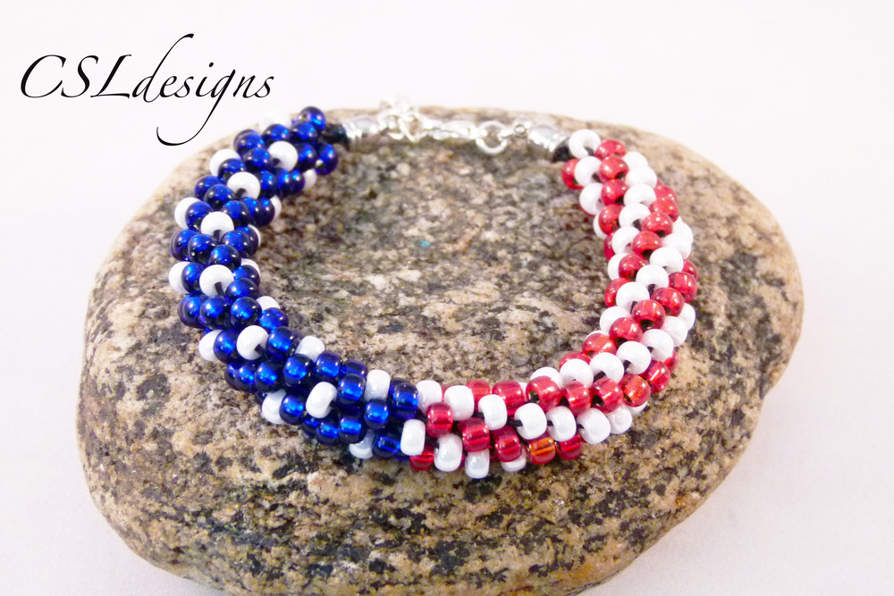 Kumihimo csldesigns for Patriotic beaded jewelry patterns