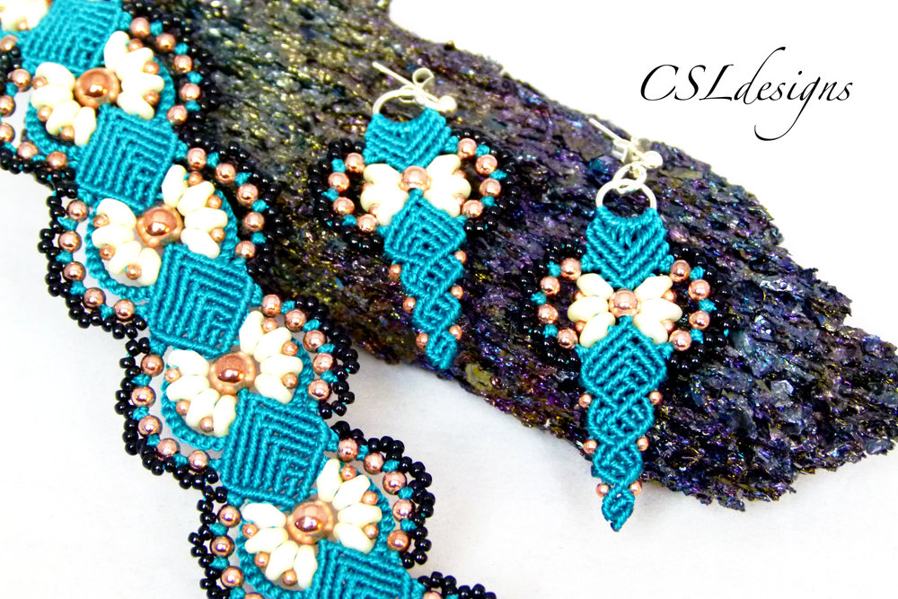 Daisy micro macrame bracelet earrings stone.jpg