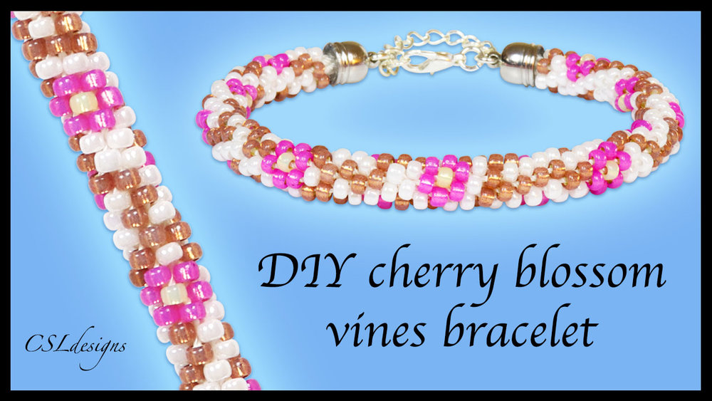 Cherry blossom vines beaded kumihimo bracelet thumbnail.jpg
