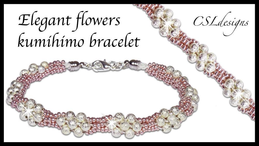 Elegant flowers beaded kumihimo bracelet thumbnail 1.jpg
