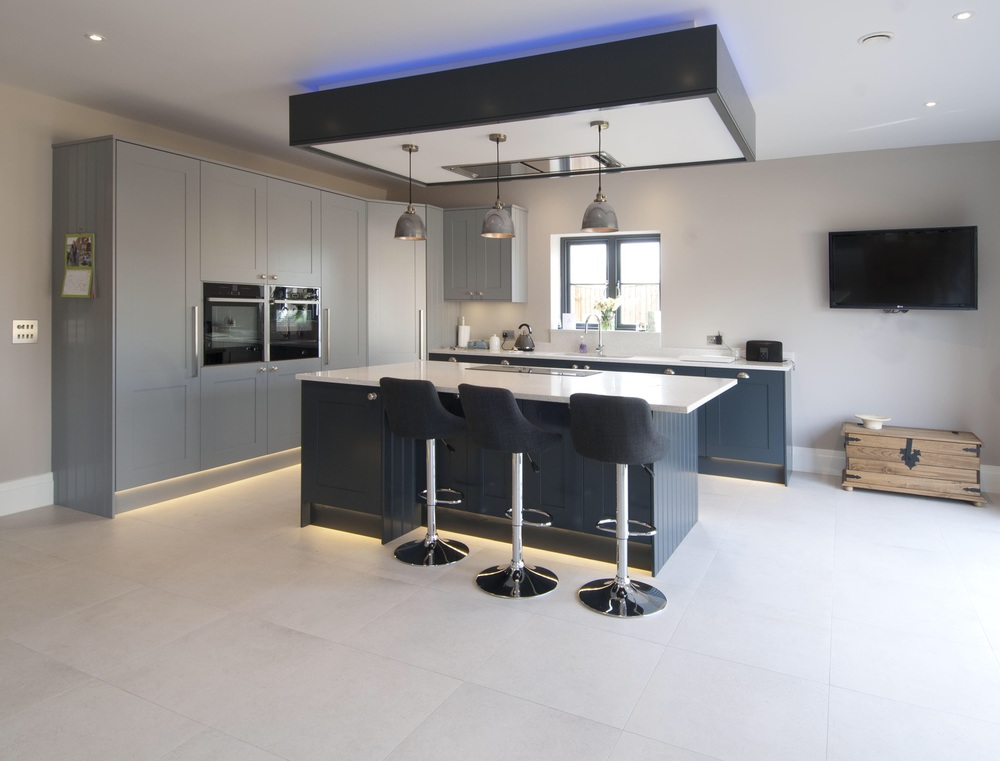 New kitchen aevum property development ltd new kitchen desined and installed led strip lights in the plinths for a soft glow and bespoke bulkhead with irrigated extractor and colour changing led aloadofball Choice Image