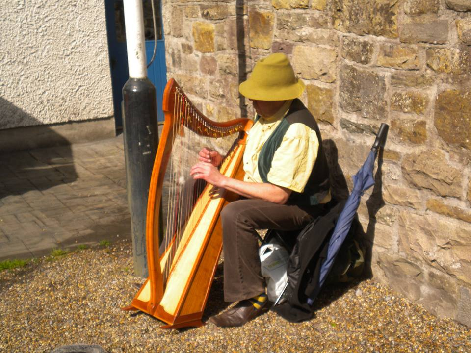 Andy playing his Harp, Boyle Courtyard Market, County Roscommon.