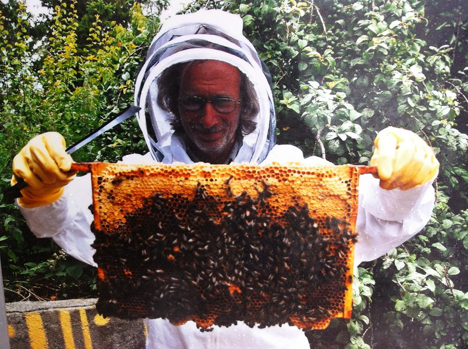 Rainer from the Irish Tea Company beekeeping, Boyle Courtyard Market, County Roscommon.
