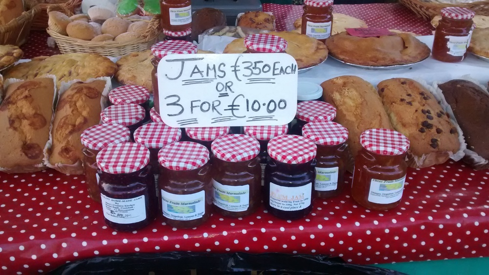 Selection of jams from the Irish Tea Company, Boyle Courtyard Market, County Roscommon.