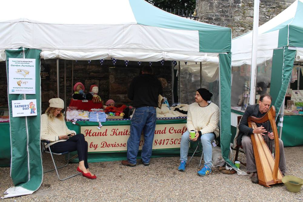 Dorisse's Hand Knits & Andy the Harpist, Boyle Courtyard Market, County Roscommon.
