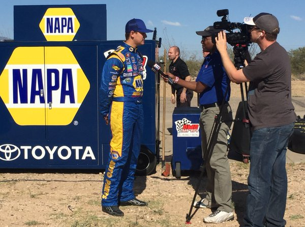 KNWest pts leader Todd Gilliland is interviewed by David Kelly TNN at Tucson Speedway.jpg