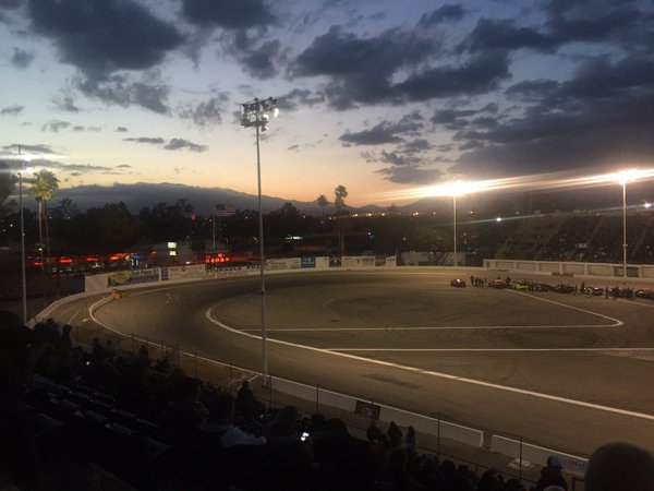 Sunset at the KNWest NASCAR Home Track at Orange Show Speedway.jpg