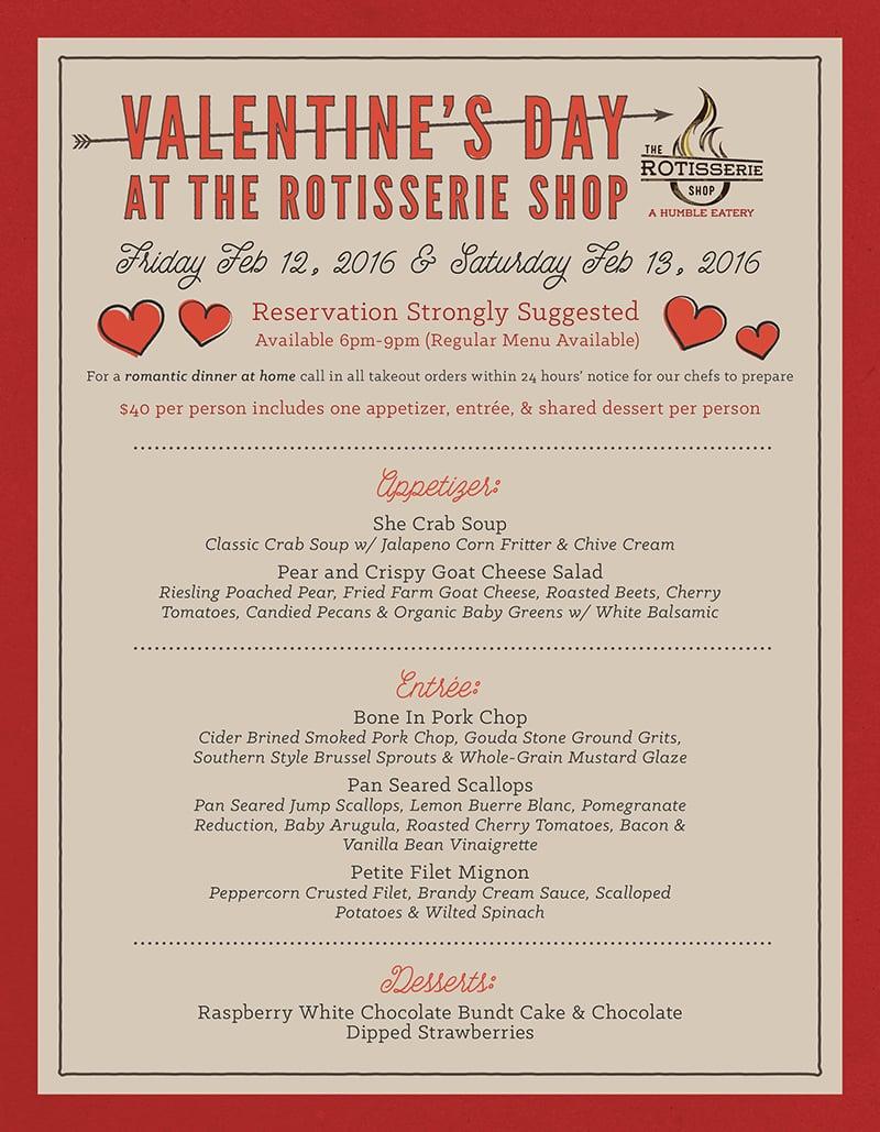 2016 Valentine S Day Dinner Menu Catering And Dinner Restaurant