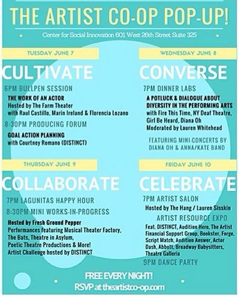 """Cultivate / Converse / Collaborate / Celebrate""  BewilderArts is thrilled to announce a powerful new initiative from innovative friends of ours - ‪#TheArtistCoOp‬. This new and revolutionary endeavor for artists will pop off next week with its pop up - FOUR free nights of, well, cultivation, conversation, collaboration and celebration. We will be there sharing ideas and inspirations, and we hope you will join us!  Join the event series, June 7-10, for New York City ‪#actors‬, ‪#directors‬, ‪#dancers‬, ‪#playwrights‬, and more, with programs and services to support the performing arts community! Taking place at the Center for Social Innovation, 601 W 26th St #325, New York, NY, the pop up will host an inspired evening lineup of event programming. RSVP + info http://bit.ly/tacpopuprsvp.  Represent ‪#TeachingArtists‬ ‪#NYCArtists‬ ‪#NYCActivists‬ ‪#Artivists‬ ‪#ArtsEducation‬ ‪#ArtsActivism‬ ‪#CommunityArts‬ ‪#NYCWorkshops‬ ‪#FreeNYC‬ ‪#BetheChange‬ ‪#ArtsMatter‬ ‪#ArtMakesChange‬ ‪#ArtCommunity‬ ‪#NYCArts‬ ‪#NYCCommunity‬"
