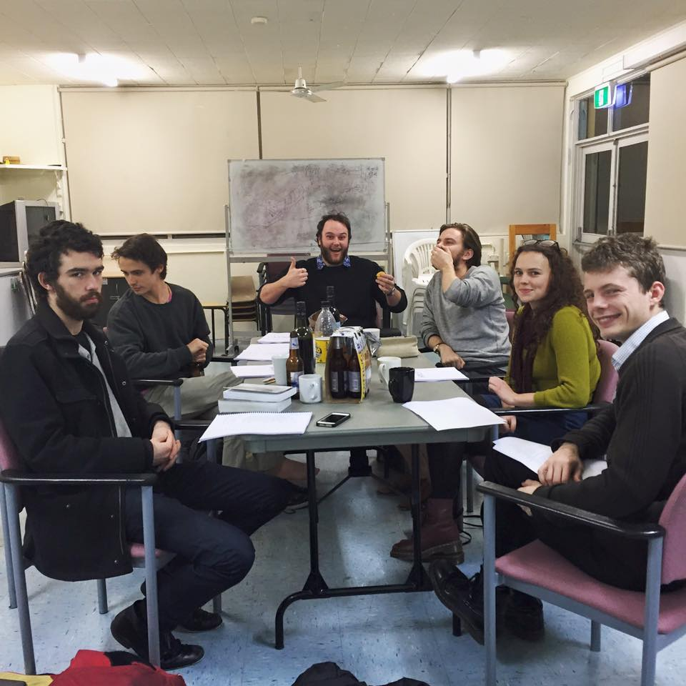 Check out our very excited cast and director at our first readthrough. L-R: Saro Lusty-Cavallari (Director), Christian Byers (Hamlet), Robert Boddington (Claudius), Patrick Morrow (Polonius), Lulu Howes (Ophelia), Zach Beavon-Collin (Horatio).