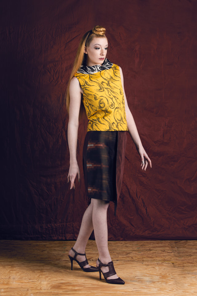 Bandeau Collar Top:  Crepe de chine; silk/viscose lining     Asymmetrical Skirt:  Crepe de chine, faux suede; silk/viscose lining
