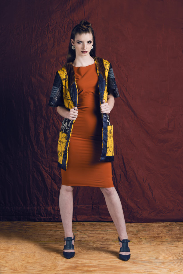 Colorblock Day Coat:  Crepe de chine, silk jacquard, mink fur, faux leather    Burnt Orange Dress:  Ponte de Roma Knit