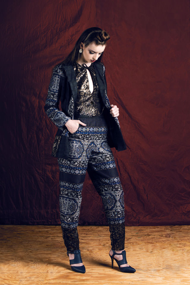 Blazer and Pant:  Metallic Damask