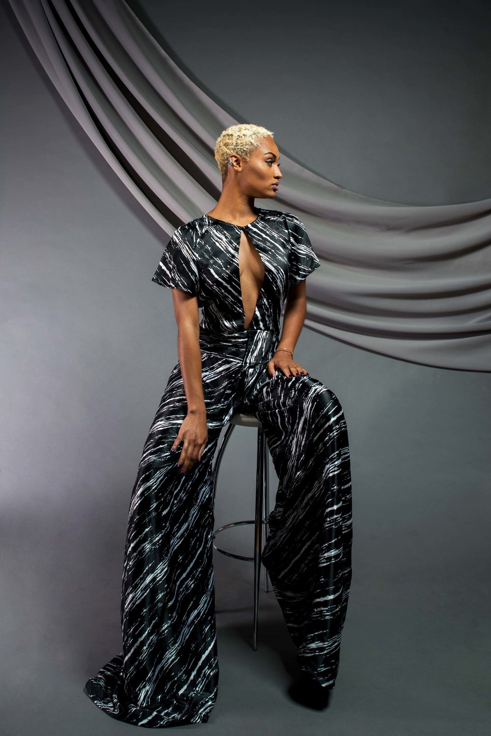 Abstract Printed Jumpsuit:  Satin/viscose