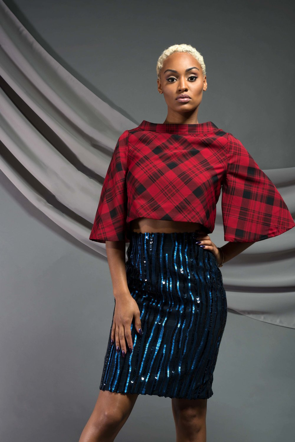 Bandeau Collar Crop Top:  crepe; fully lined   Striped Sequin Skirt:  Sequin mesh, wool suiting; silk/viscose lining
