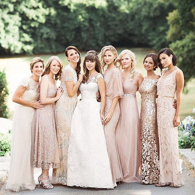 50 shades of rose-- side note: why don't more #bridesmaidsdresses come in T length? #bridesmaidswag 🎉 Congrats @margoandme