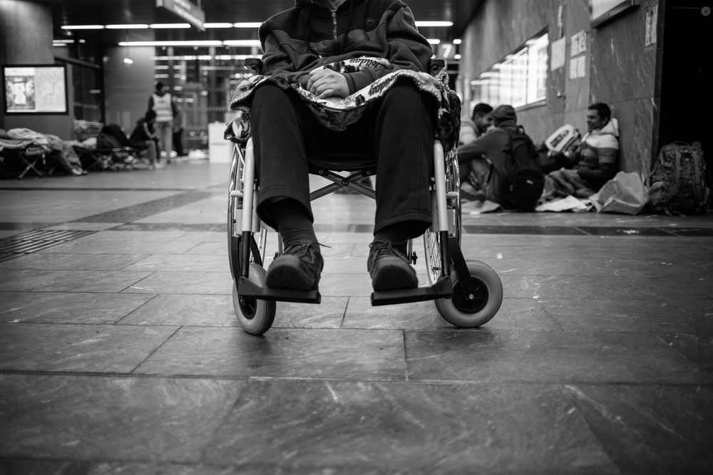 Obavid's father in his wheelchair