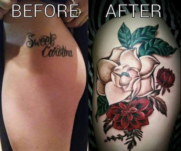Cover Up Tattoo By Kimi Leger Sacred Lotus Tattoo Tattoo Shop