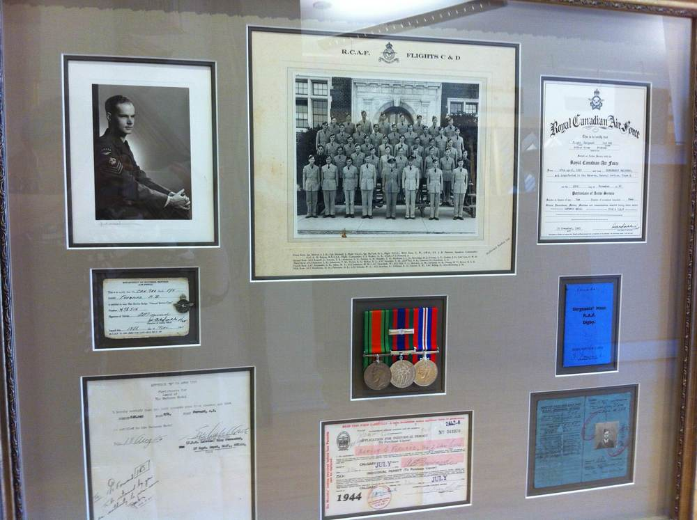 Framed 1944 Royal Canadian Air Force Documents