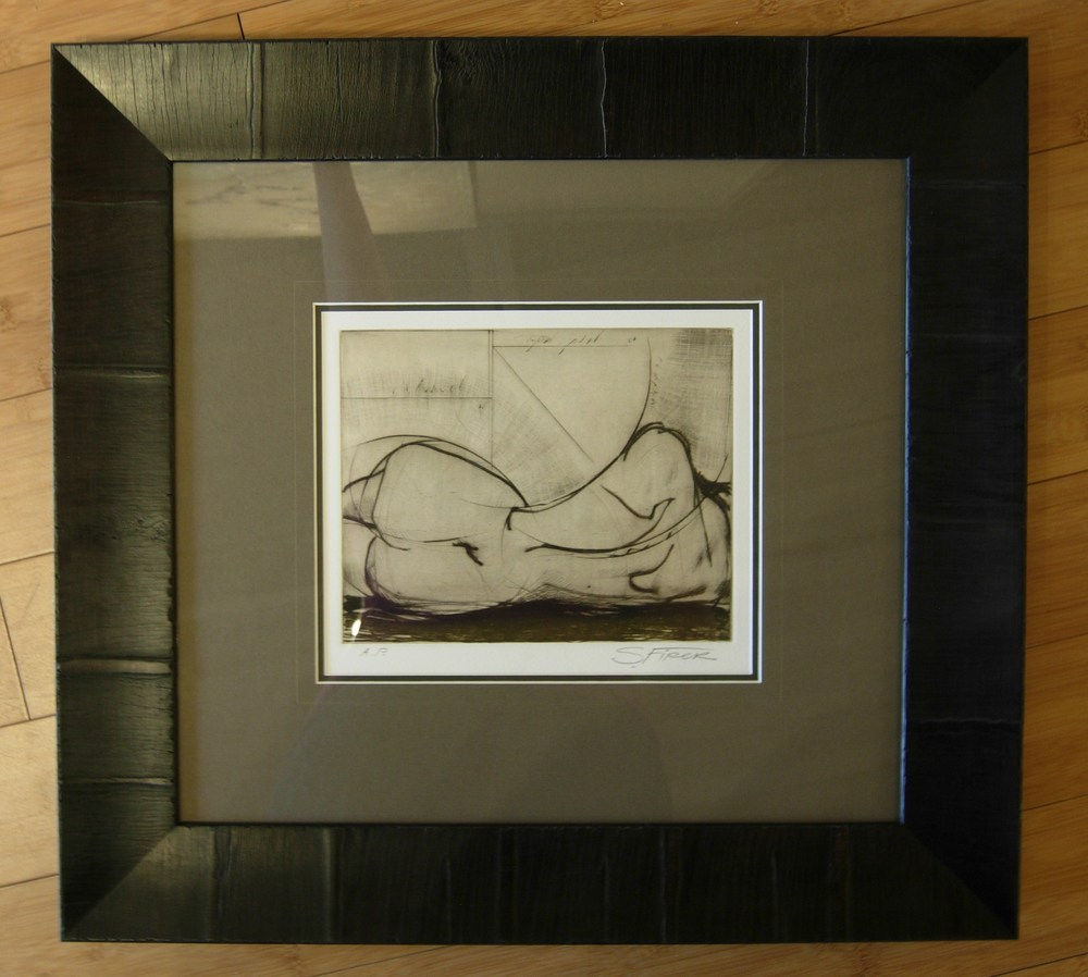 Framed Sketch of Naked Woman Laying Down