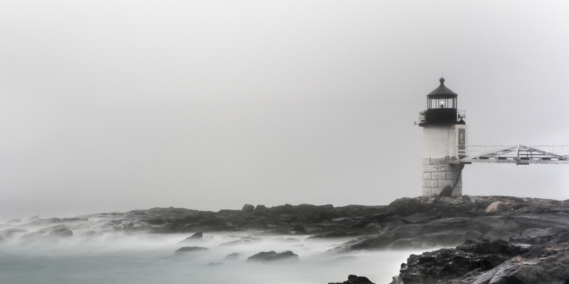 """Lighthouse in White""  archival digital print 12x24"