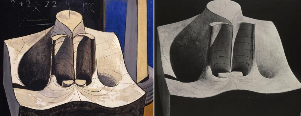 Image credit: (left) an Ray, Shakespearean Equation, Julius Caesar, 1948. Oil on masonite, 24 × 19 3/4 in. The Rosalind & Melvin Jacobs Collection, New York. © Man Ray Trust / Artists Rights Society (ARS), NY / ADAGP, Paris 2015 (right) Mathematical Object: Real Part of the Function w=e , c. 1900. Plaster, 9 × 12 3/8 × 7 1/2 in. Brill-Schilling Collection. Institut Henri Poincaré, Paris