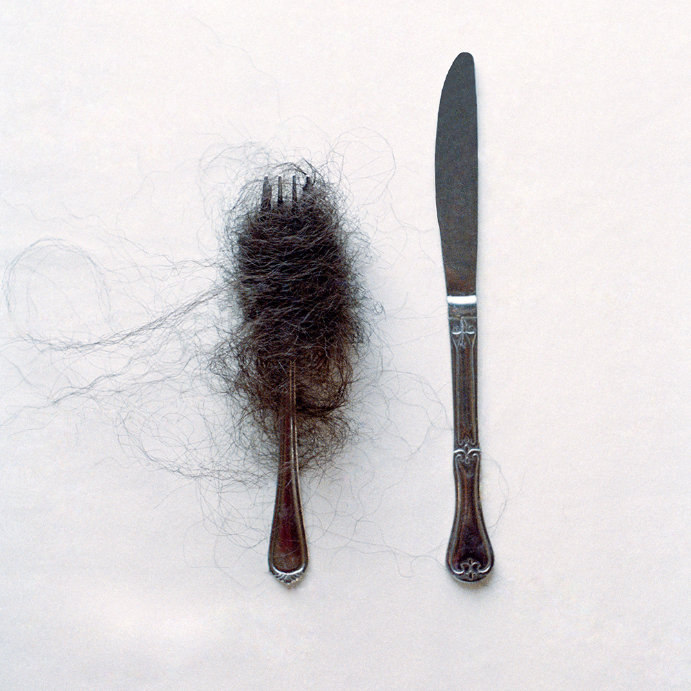 "©Nakyea Brown  Kanekalon on a Fork,     The Refutation of ""Good"" Hair, 15 inches x 15 inches , Archival Inkjet Print, 2012"