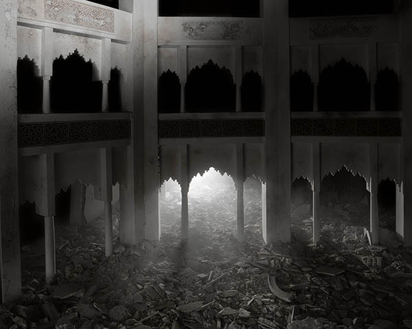 Wafaa Bilal, The Ashes Series: Dark Palace, 2003–2013. Archival inkjet photograph, 24 x 30 in. Edition of 5. Image courtesy of Driscoll Babcock Galleries