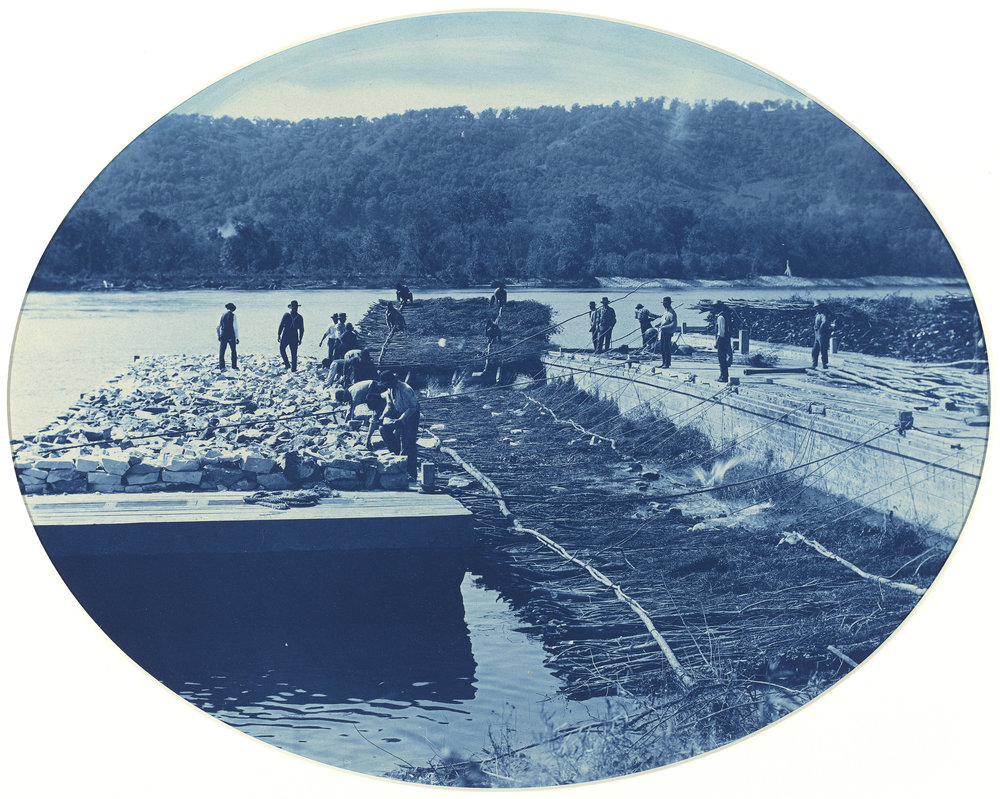 Henry Peter Bosse, Construction of Rock and Brush Dam, L.W. 1891, 1891, cyanotype, National Gallery of Art, Gift of Mary and Dan Solomon