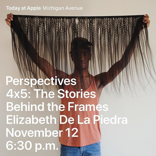 Tomorrow! Join @lucyhewett and myself in welcoming four incredible Chicago photographers to @4x5_stories at @apple Michigan Ave. @elizabethdelapiedra, @alexavisciusphoto, @lawrenceagyei, and @lili__fang will share the stories of creation, inspiration and intentions behind five of their favorite images. Cannot wait to see all the gorgeous work across Apple's 24' screen. I'm definitely gonna be fangirling out.  Program starts at 6:30 sharp. Come early to chat with us and the featured artists.