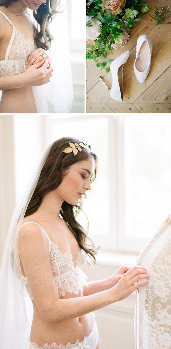 Boudoir shots of the bride in the chateau during the 2016 Workshop; photo by Sylvie Gil