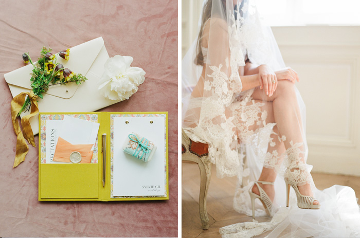A welcome booklet for the workshop as well as a romantic boudoir shot with the bride draped in a lace veil; photo by Sylvie Gil