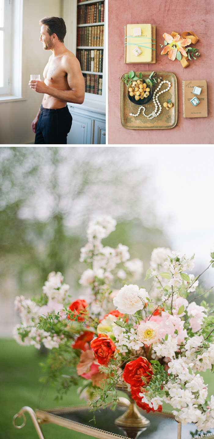 Boudoir shots of the groom, details from the wedding, and gorgeous red and pastel pink florals set on a vintage tray; photo by Sylvie Gil