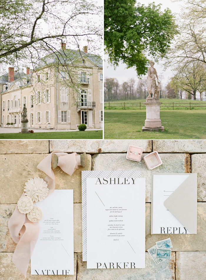 Chateau de Varennes and the grounds, mock up invitations and examples of styling; photos by Sylvie Gil