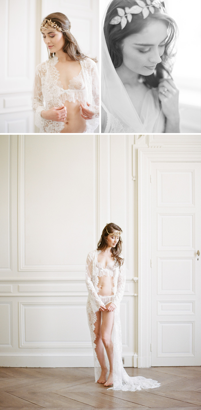 The bride poses with an ornate floral headpiece and beautiful lace coverup in Chateau de Varennes; photo by Sylvie Gil