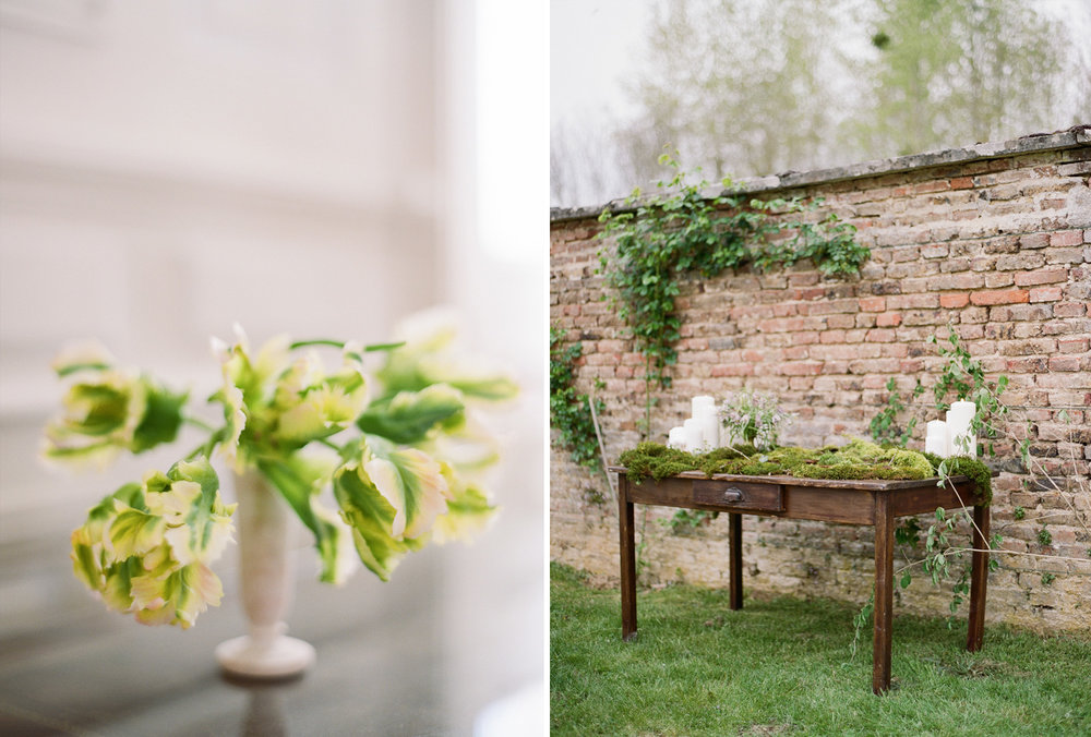 Floral details and a vintage table set with placecards on moss; Sylvie Gil Photography