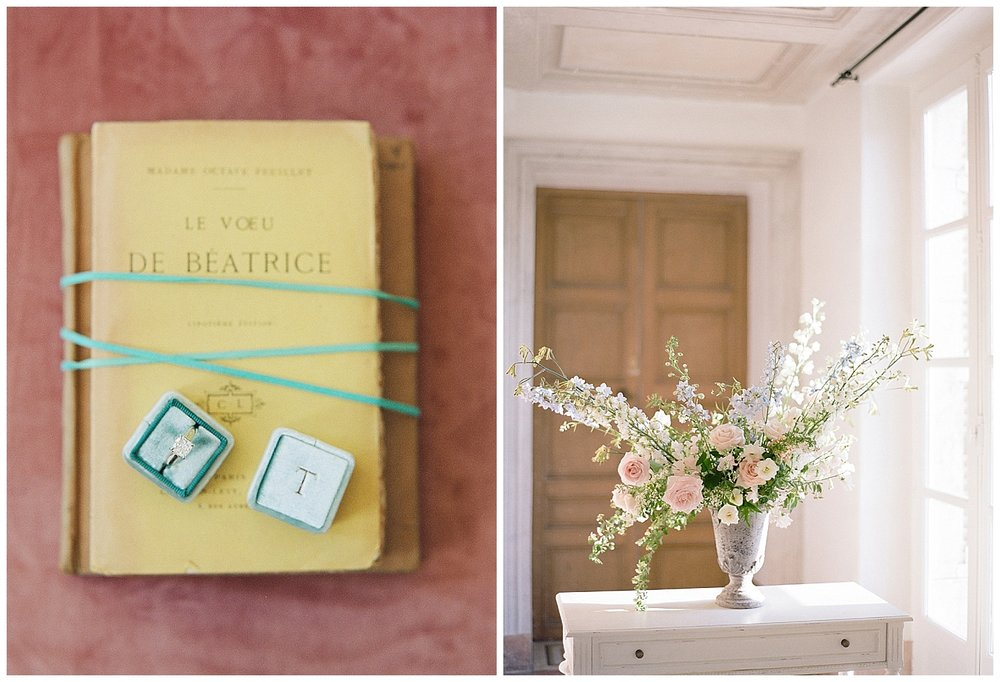 Mrs Box ring boxes and floral centerpiece in Chateau de Varennes; Sylvie Gil Photography