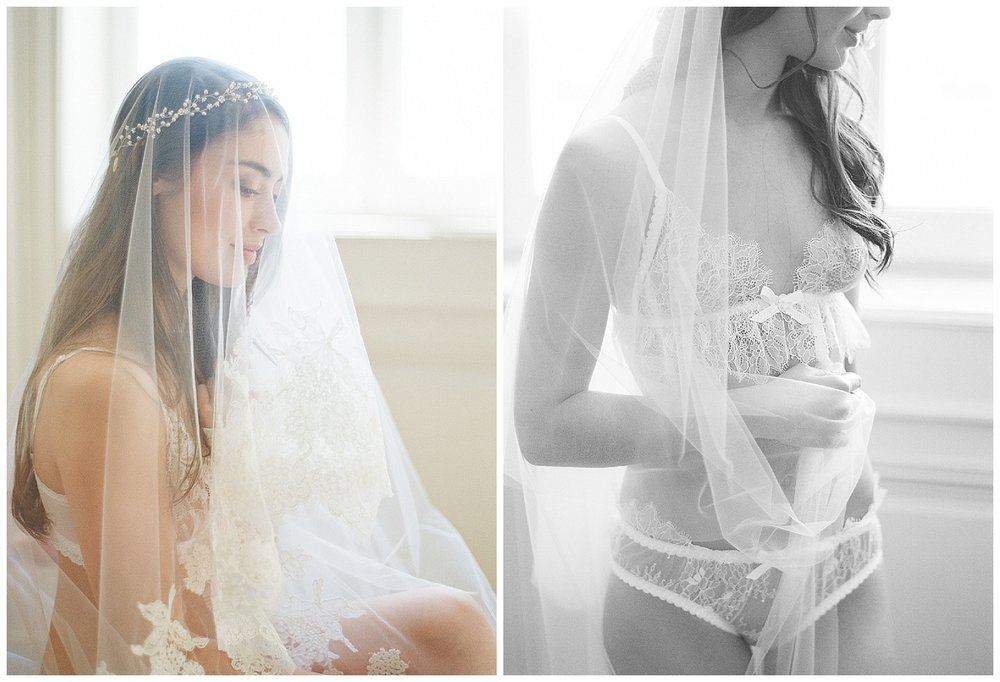 Bride in lingerie and veil during 2016 Workshop boudoir shoot; Sylvie Gil Photography