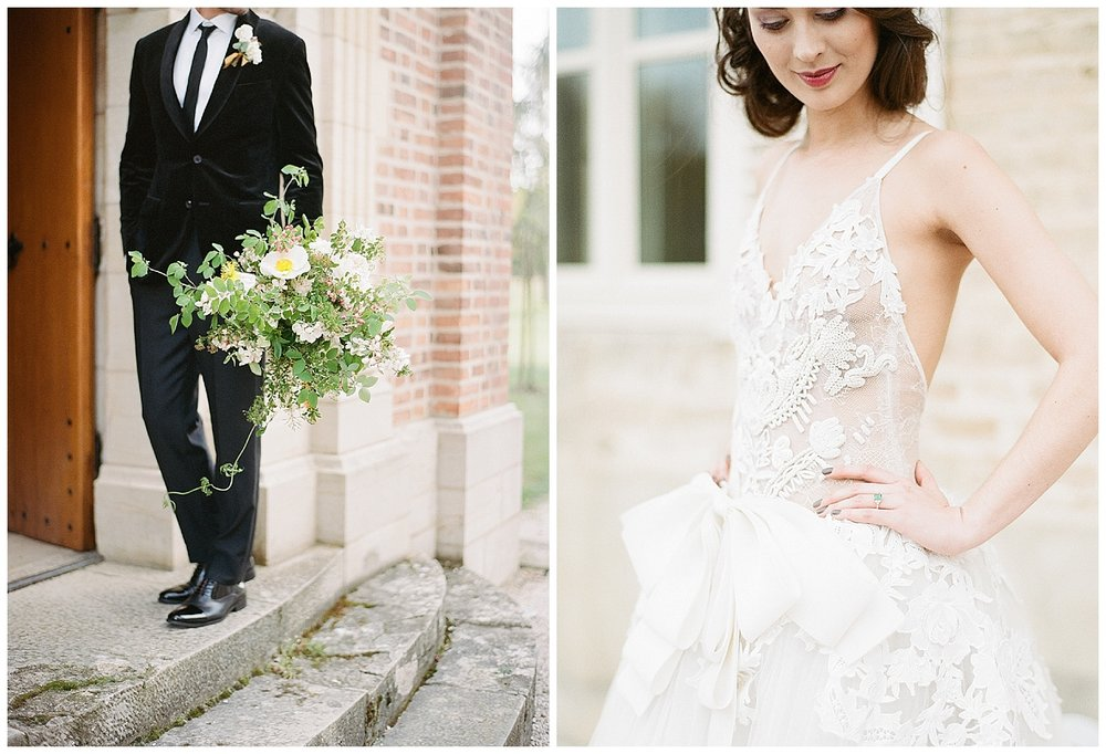 Groom holds bouquet, bride in a Vera Wang gown; Sylvie Gil Photography