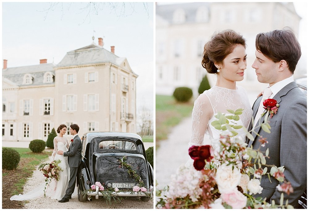 Bride and groom with vintage car at the 2015 Workshop; Sylvie Gil Photography