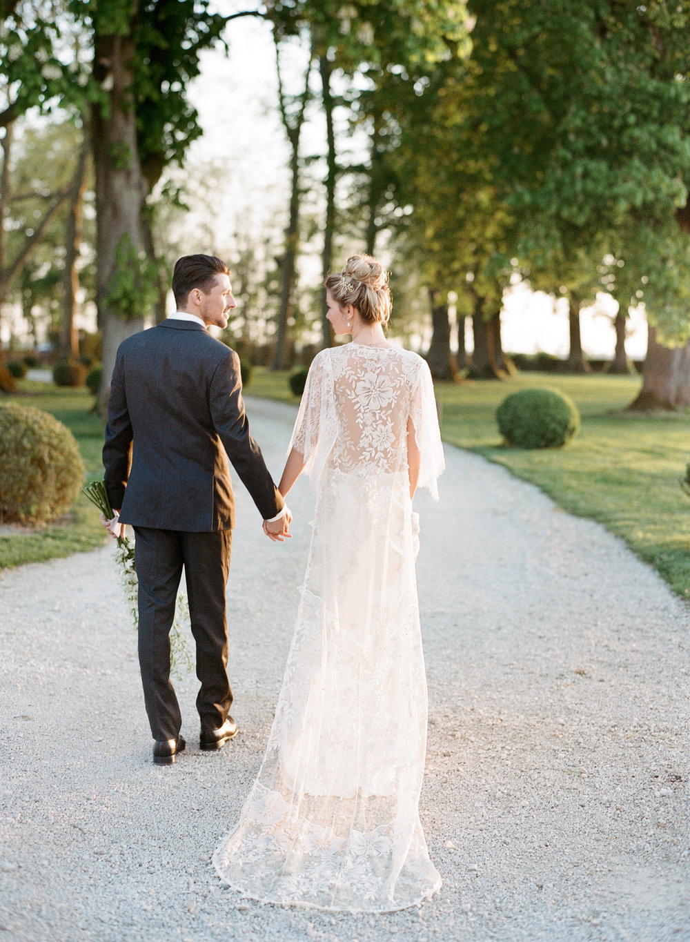 Bride and groom at golden hour at Chateau de Varennes; Sylvie Gil Photography