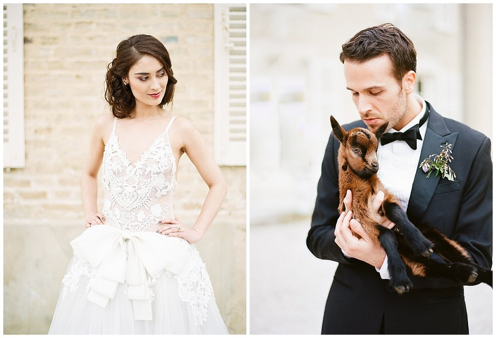Bride in Vera Wang and groom with a nearby baby goat; Sylvie Gil Photography