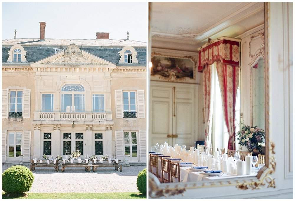 Chateau de Varennes with styled reception tables; Sylvie Gil Photography