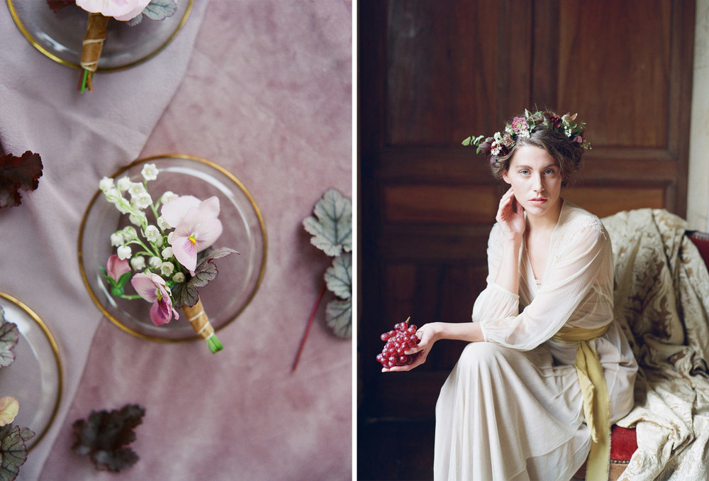 A Renaissance bride holds grapes in a boudoir shoot in Burgundy, France; Sylvie Gil Photography