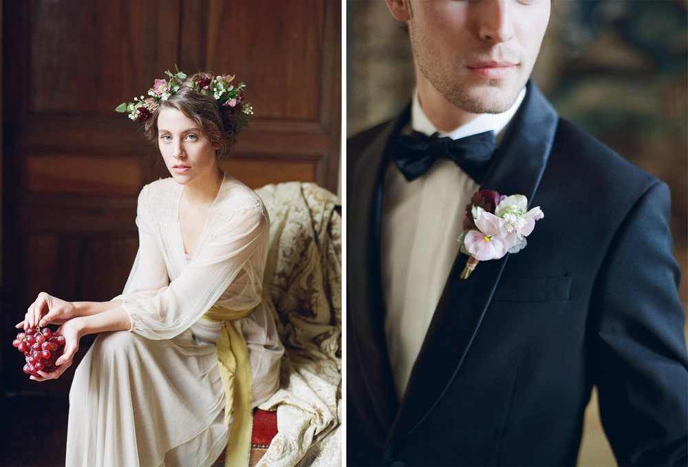 A bride and groom getting ready at Chateau de Varennes in Burgundy, France; Sylvie Gil Photography