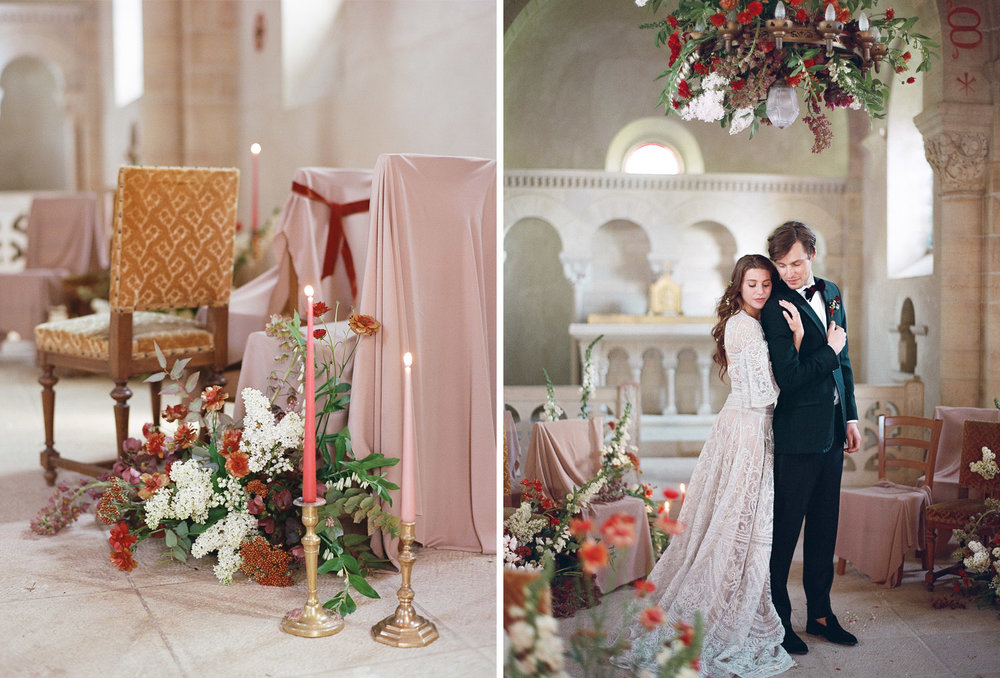 A bride and groom embrace in Chateau de Varennes, Burgundy; Sylvie Gil Photography