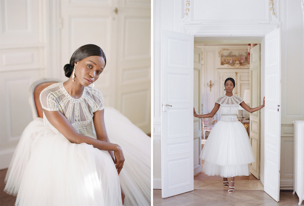 Portraits of a bride in a ballerina Naeem Khan gown at Chateau de Varennes in Burgundy, France; Sylvie Gil Photography